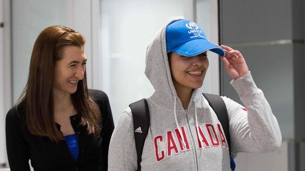 Rahaf Mohamed al Qunun, el aeropuesto internacinoal de Toronto este sábado