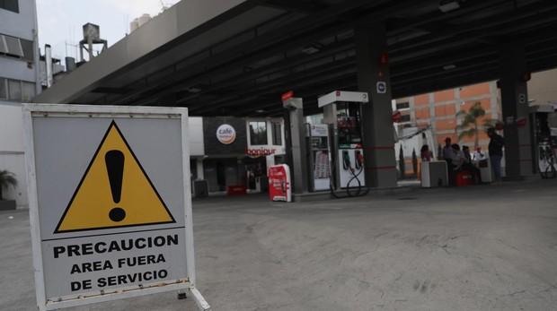 Vista de una gasolinera cerrada en Ciudad de México