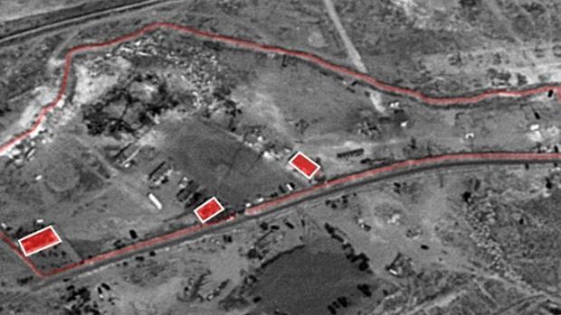 Vistas aéreas del ataque israelí de esta noche contra territorio sirio facilitadas por las Fuerzas de Defensa de Israel