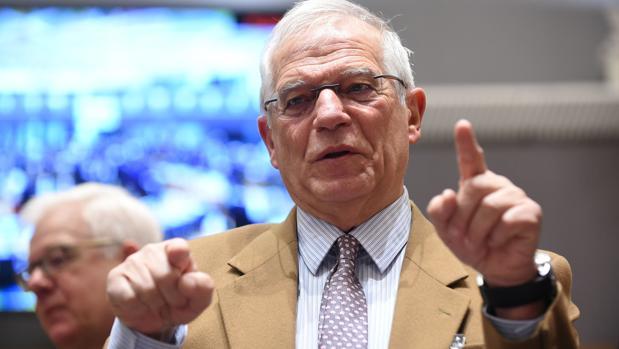 El ministro español de Asuntos Exteriores, Josep Borrell, este lunes en Bruselas