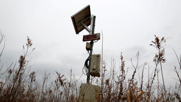 Un medidor de radiación en las proximidades de Fukushima