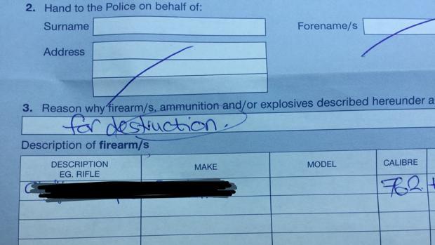 Documento de entrega de un arma de fuego en Nueva Zelanda