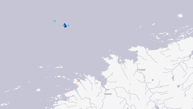 Posición del crucero Viking Sky frente a la costa de Noruega a las 17.30, hora española