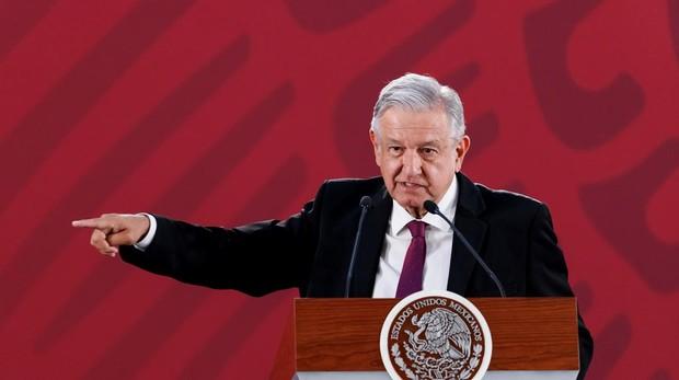 El presidente López Obrador, durante su habitual rueda de prensa diaria en el Palacio Nacional