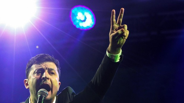 Vladímir Zelenski, este viernes durante un mitin en Kiev