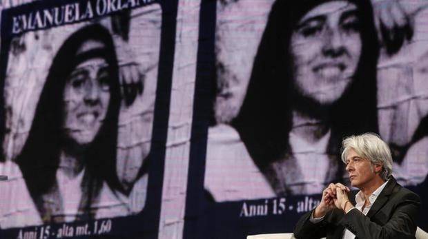 El hermano de la joven italiana desaparecida en 1983 Emanuela Orlandi, Pietro Orlandi, participa en un programa de la televisión italiana en Roma