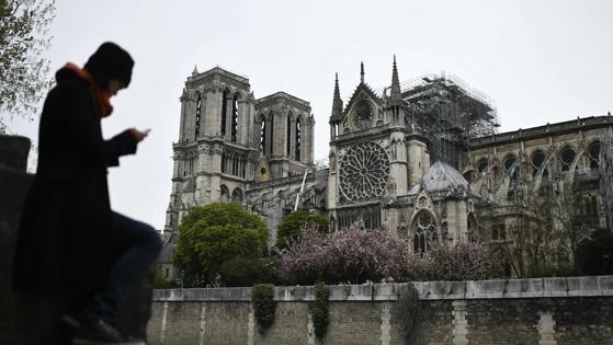 Una vista de Notre Dame esta mañana