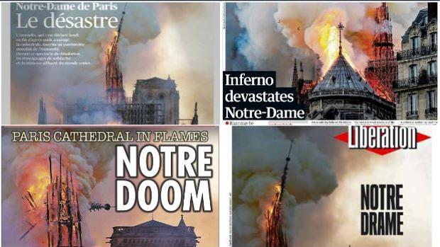 Las portadas de la prensa internacional recogen el incendio en Notre Dame, París