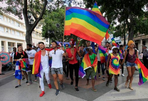 Manifestantes en La Habana