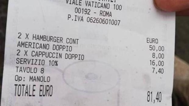 Nuevo palo para turistas en Roma: dos hamburguesas y tres cafés, 81 euros