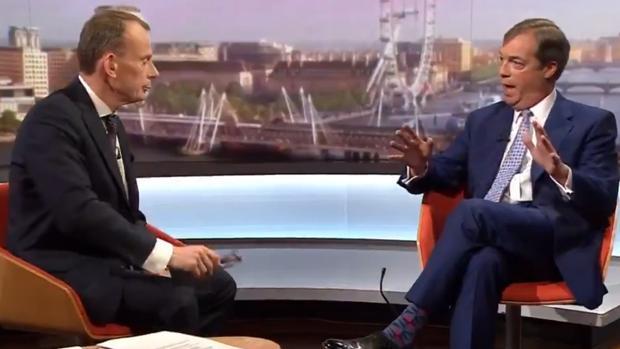 Andrew Marr y Nigel Farage durante la tensa entrevista