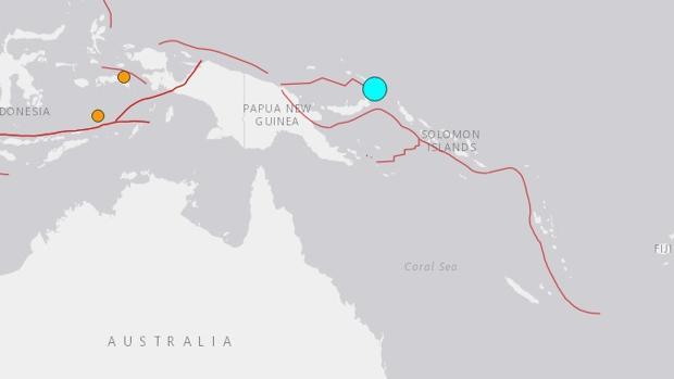 Epicentro del terremoto de Papúa Nueva Guinea