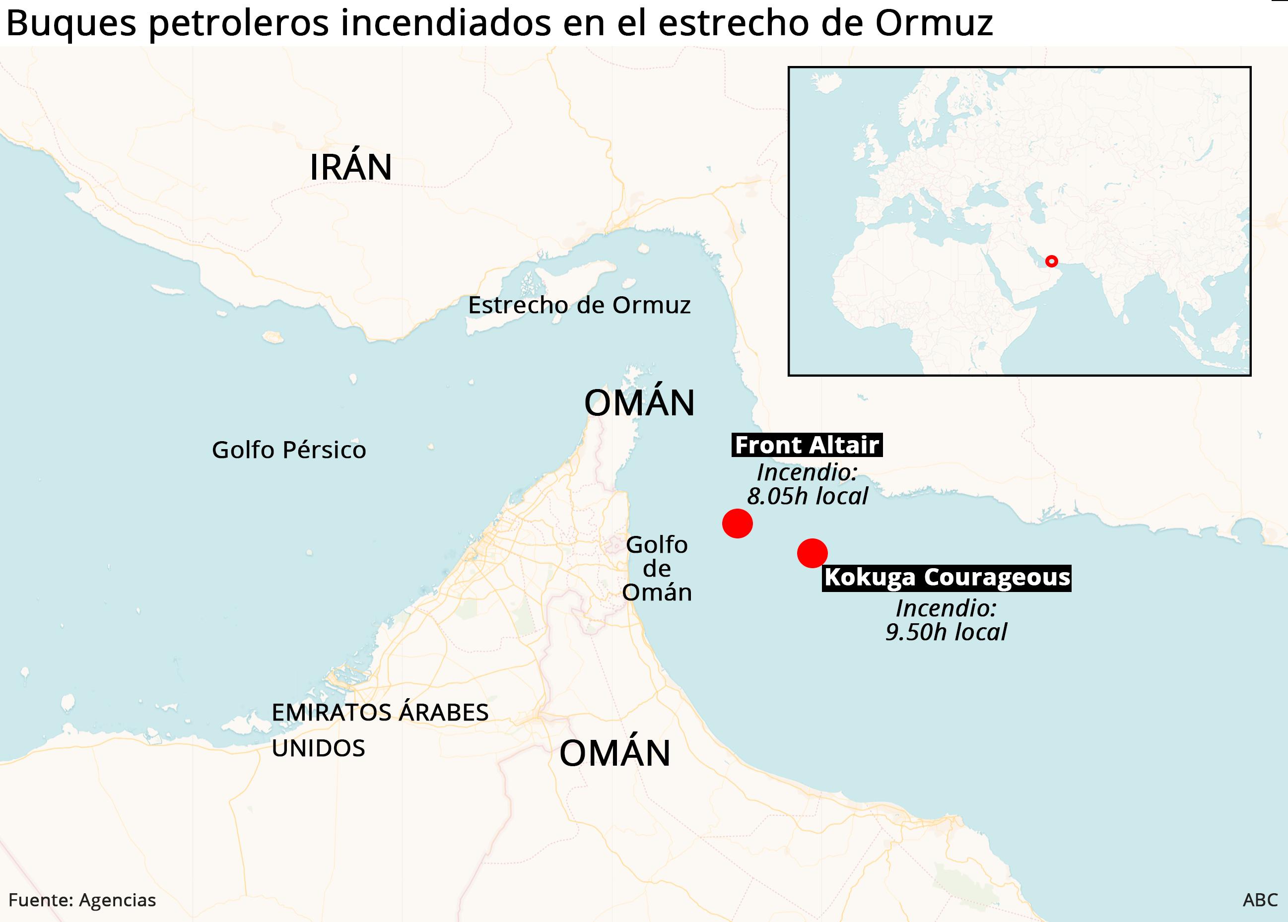 Detalles del incidente entre los dos buques en el estrecho de Ormuz