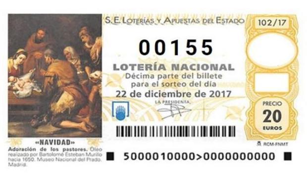 Décimo de Lotería de Navidad con el número 155