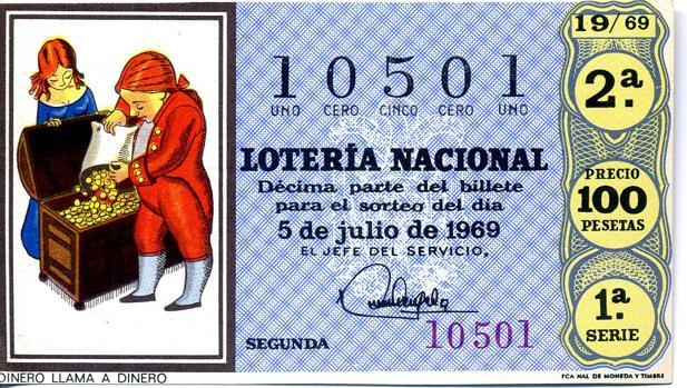 Billete de lotería de 1969 de la serie sobre «El refranero popular»