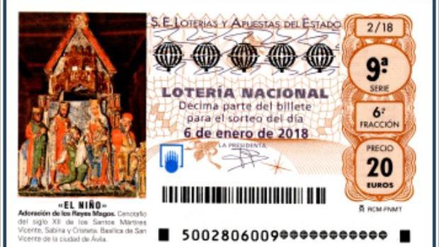 Imagen del décimo de lotería de El Niño de 2018