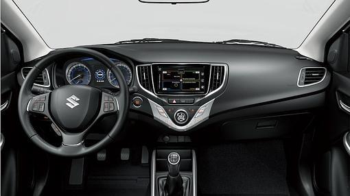 Well-designed driving position in the new Baleno. The finish is correct.