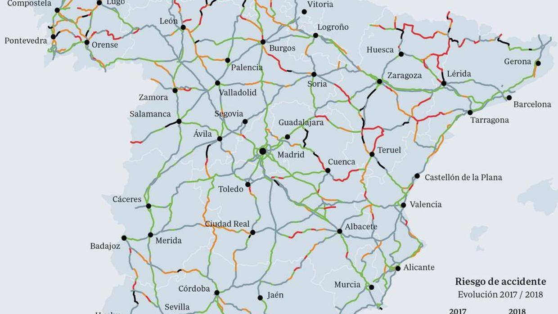 Mapa De España Carreteras.Mapa Interactivo Los Tramos De Carretera Mas Peligrosos De