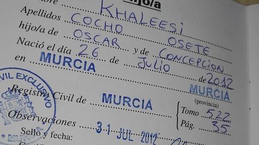 Fotografía del nombre Khaleesi Cocho Osete inscrito en el Registro