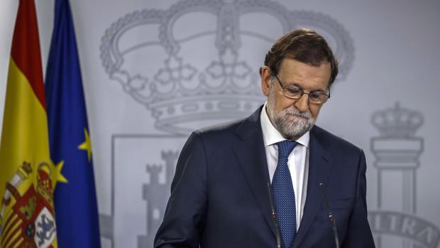El presidente del Gobierno, Mariano Rajoy, durante su comparecencia