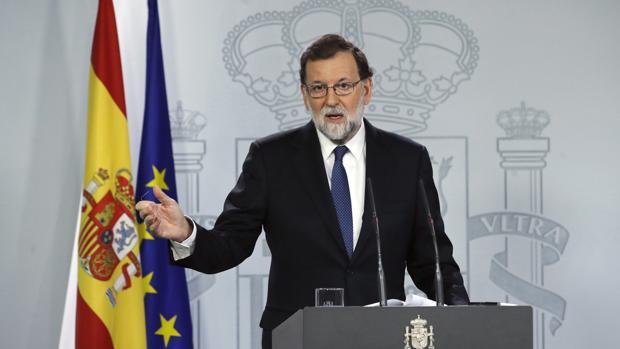 Mariano Rajoy, durante su comparecencia para explicar la aplicación del artículo 155