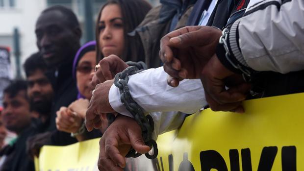 Protesta contra la esclavitud en Atenas