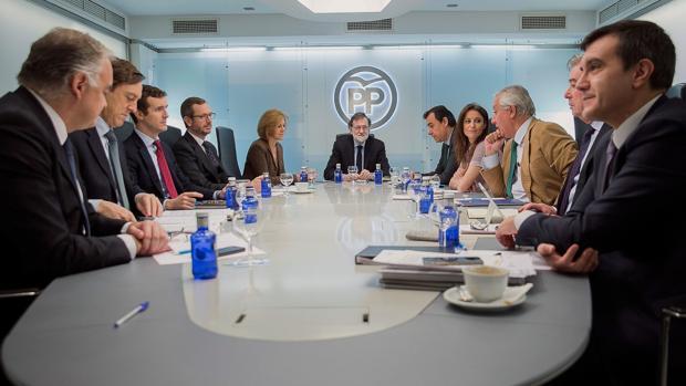 Mariano Rajoy preside, en la mañana de ayer, el Comité de Dirección del PP