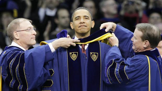 Obama en la universidad de Notre Dame en 2009