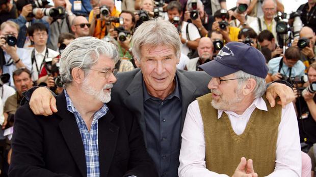 George Lucas, Harrison Ford y Steven Spielberg, durante el estreno de la cuarta parte de Indiana Jones
