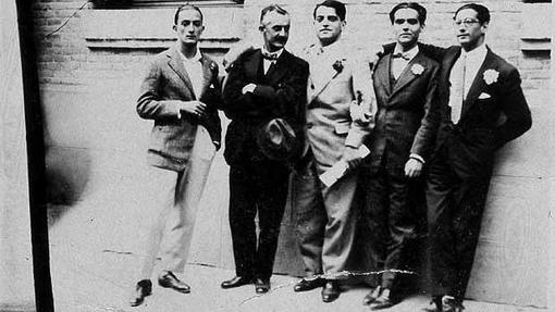 Salvador Dalí, Moreno Villa, Luis Buñuel, Federico García Lorca y José Antonio Rubio
