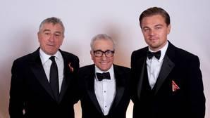Robert De Niro, Martin Scorsese y Leonardo Di Caprio en una imagen de archivo