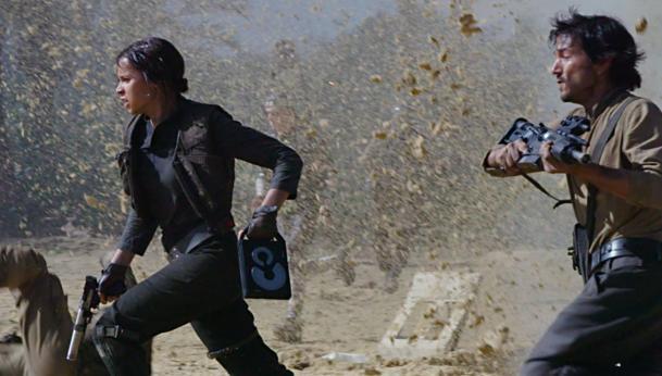 Jyn Erso y Cassian Andor en Rogue One