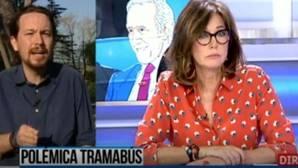 Ana Rosa y Pablo Iglesias, durante la entrevista en Telecinco