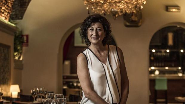 Montse Alcoverro, durante la entrevista para ABC en el restaurante Boga Bar (Madrid)