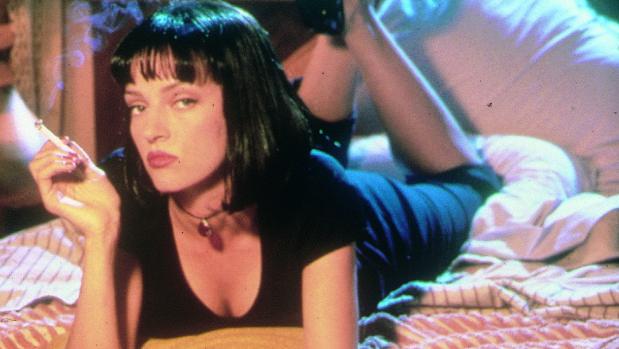La actriz Uma Thurman en el cartel promocional de la película «Pulp Fiction» (1994)