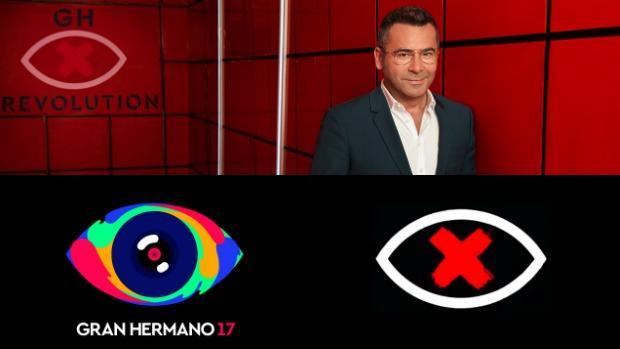 Jorge Javier Vázquez (arriba) / Antes y después del logo de «Gran Hermano Revolution» (abajo)