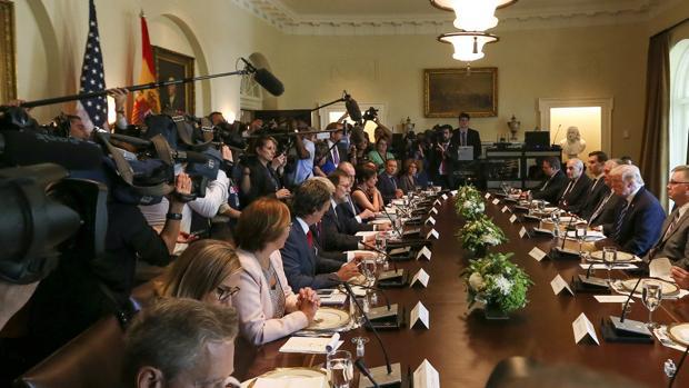 El presidente del Gobierno, Mariano Rajoy y y el presidente de Estados Unidos, Donald Trump, durante la reunión mantenida el martes 26 de septiembre en la Casa Blanca