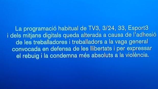 Mensaje de TV3 anunciando el cese de sus emisiones
