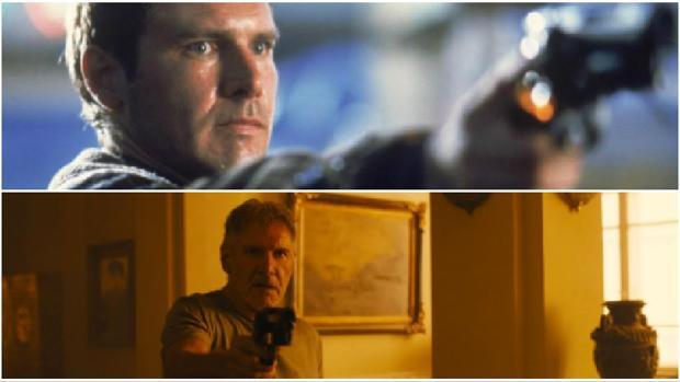 Harrison Ford, en 1982 (el futuro de 2019)y en la actualidad (el futuro de 2049)