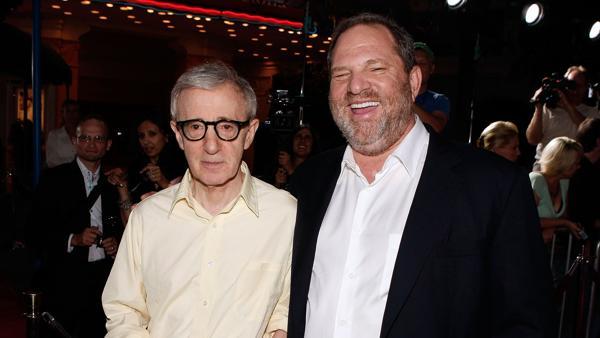 Woody Allen y Weinstein durante la presentación de «Vicky Cristina Barcelona» en Los Ángeles