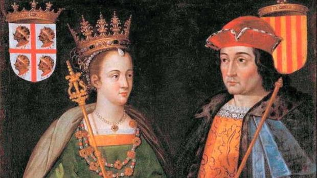 Petronila de Aragón y Ramón Berenguer IV, conde de Barcelona, según interpretación de Filippo Ariosto (1586)