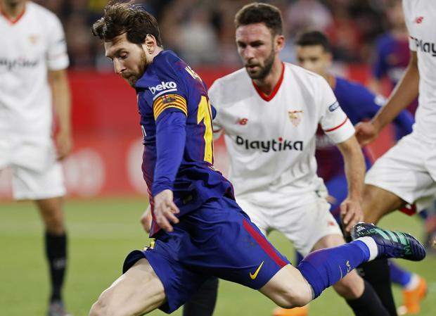 Leo Messi, en el partido que enfrentó a Sevilla y Barcelona hace solo unos día en Liga