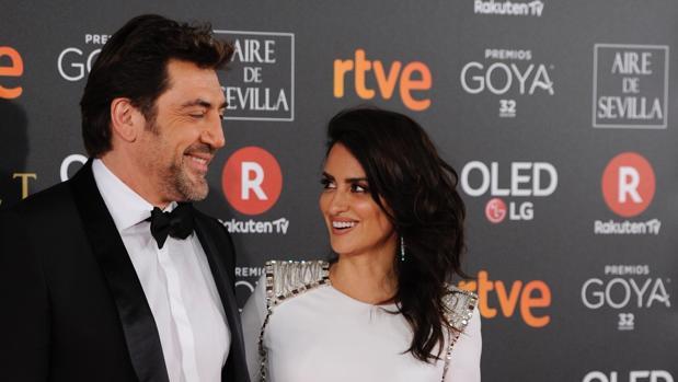 Javier Bardem y Penélope Cruz, en los Premios Goya