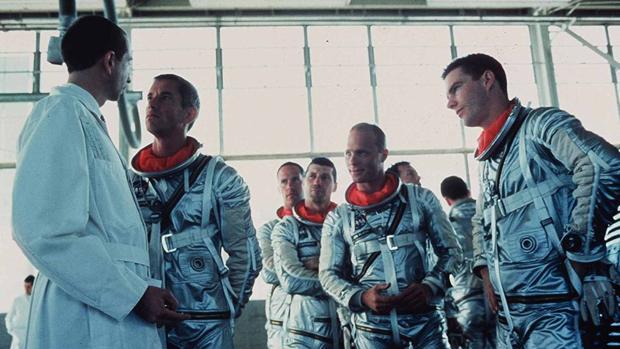 Fotograma de «Elegidos para la gloria», con Scott Glenn, Fred Ward, Ed Harris y Dennis Quaid, entre otros