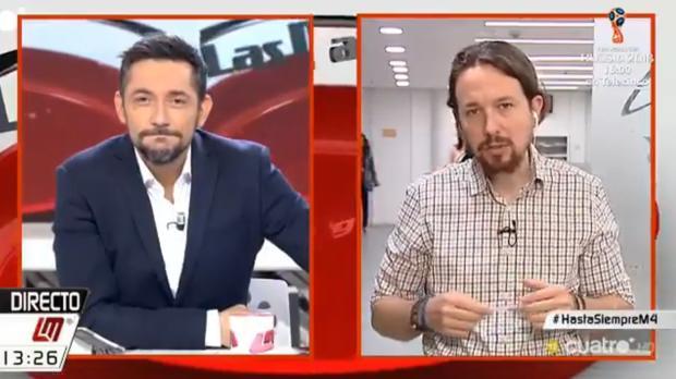 Pablo Iglesias se despide en directo de «Las mañanas de Cuatro» y Javier Ruiz
