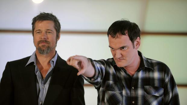Tarantino, junto a Brad Pitt en la promoción de «Malditos bastardos»
