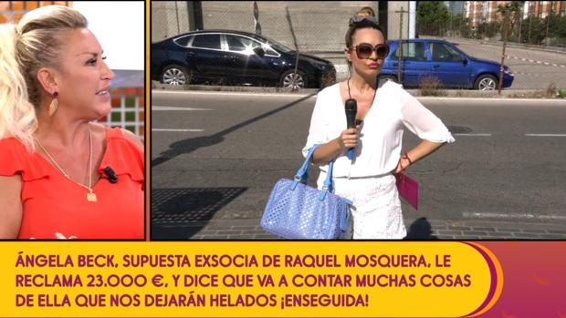 Raquel Mosquera en «Sálvame», junto a su supuesta exsocia