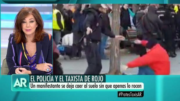 Ana Rosa, durante la tertulia dedicada en su programa a la huelga del taxi