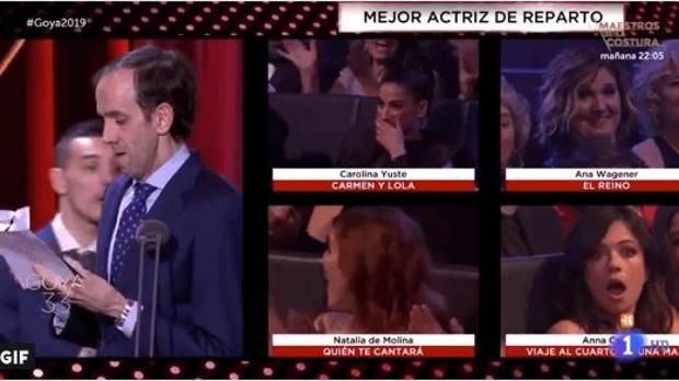 Anna castillo, abajo a la derecha, tras conocer la ganadora al Goya a mejor actriz revelación