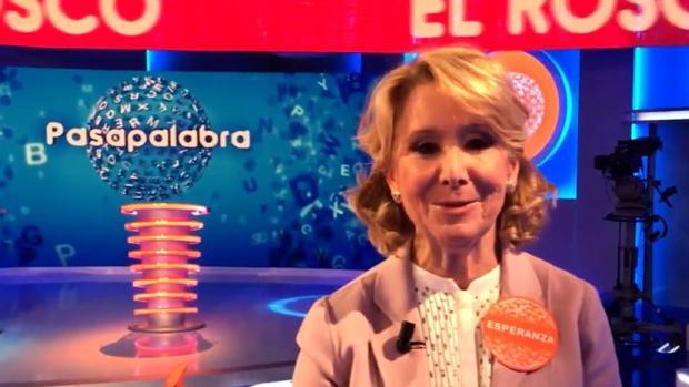 Esperanza Aguirre, en el plató de Pasapalabra
